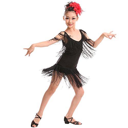 XFentech Kinder Mädchen Ärmellos Quaste Latein Tanzkleid Moderner Tanz Performance Leistung Wettbewerb Kostüm, Schwarz/160