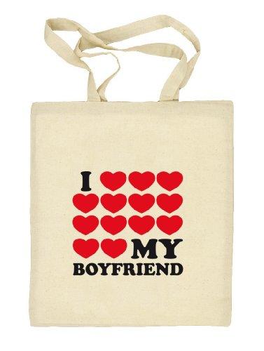 Shirtstreet24, I LOVE MY BOYFRIEND 3,Valentinstag Valentine's Day Stoffbeutel Jute Tasche (ONE SIZE) Natur