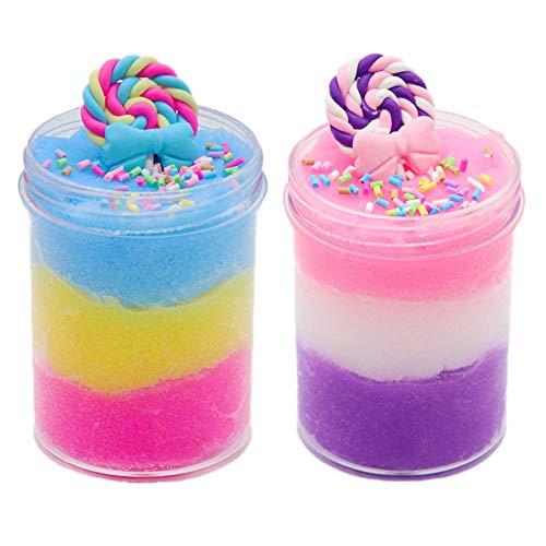 SWZY Lollipop Schleim Kit Cloud Slime Kitt Fluffy Cloud Slime Poopsie Schleim liefert Einhorn Überraschung Schleim Spielzeug für Kinder und Erwachsene (120 ml * 2 Pack) -