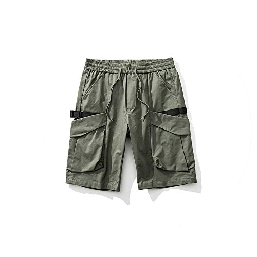 Mens Cargo Shorts Casual Multi Pocket Summer Man Military Short Pants Hip Hop Streetwear Workout Knee Length Shorts,Army Green,28 - Buckle Strap Knee Boot