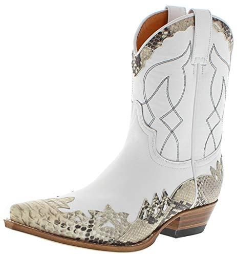 Sendra Boots Damen Cowboy Stiefel 15433 Natural Lederstiefel Weiß 40 EU