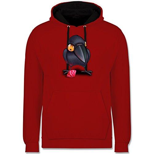 Vögel - Krähe mit Juwel - Kontrast Hoodie Rot/Schwarz