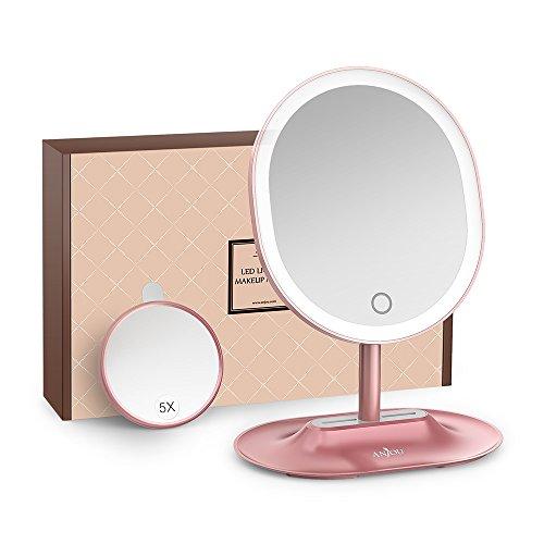Anjou Miroir Grossissant Lumineux x5 / x1, Miroir Maquillage Rechargeable avec Amovible, Lumière à LED à Réglage Tactile, Rotation à 120° pour Utilisation sur Comptoir – Miroir LED Or Rose