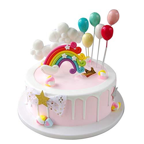 Maygone Wolken Regenbogen und Luftballons Kuchendekoration, für Kinder-Partys, Geburtstag, Kuchen, Cupcake-Dekoration
