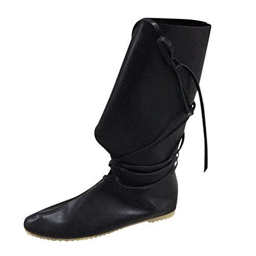 LILIGOD Unisex-Erwachsene Stiefel Overknees Stiefel Paar Leder Stiefel Mode Cross Strap Stiefel Retro Römische Stiefel Flache Stiefel Herbst und Winter Mittlerem...