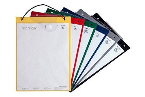 Preisvergleich Produktbild 10x Auftragstasche DIN A4 gelb, Werkstatttasche, Auftragsmappe, Werkstattmappe