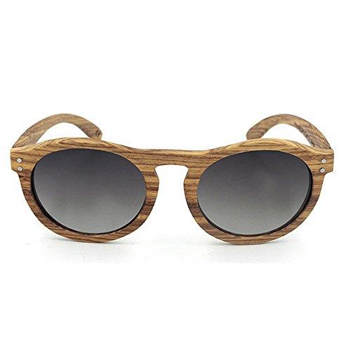 Occhiali da sole polarizzati unisex occhiali da sole rotondi retro in legno naturale con lenti polarizzate per la protezione degli uomini uv400 marca occhiali da sole firmati ( colore : grigio )