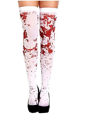 Inception Pro Infinite Weiße Socken - Mit Flecken - Aus Blut - Verkleidung - Frau - Zombi - Krankenschwester - Horror - Halloween - Karneval - Erwachsene