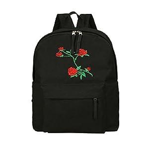 bb8df30356 ZHOUBA Zaino da viaggio esterno della scuola del studente dello zaino del  ricamo del fiore della tela di canapa delle donne di modo