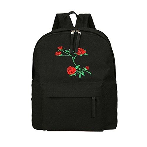 ZHOUBA Zaino da viaggio esterno della scuola del studente dello zaino del ricamo del fiore della tela di canapa delle donne di modo (Nero)