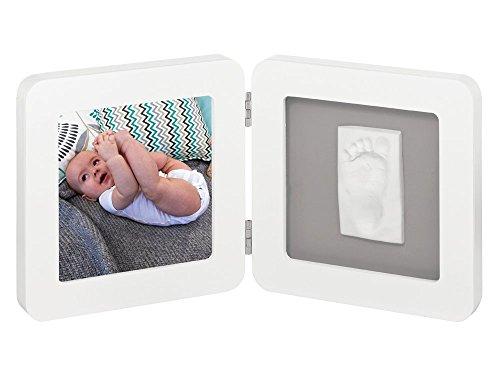 Baby Art 34120050 - Marco doble para foto con material para huella de pie o mano, madera, color blanco y gris