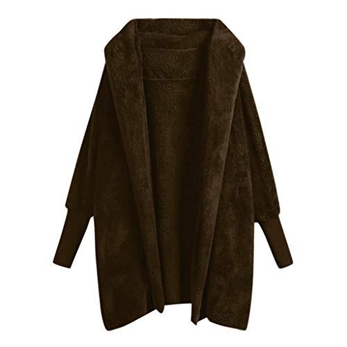 Felpa con cappuccio cappotto per le donne - donne inverno caldo giacche dolman manica faux pelliccia cardigan outwear(marrone,m)