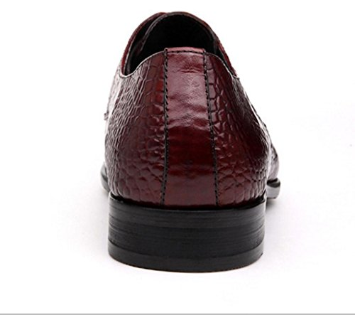 WZG Herren Lederkrokodilmuster des Geschäfts der Männer Kleid Schuhe spitz Spitze Schuhe, flache Schuhe 9,5 Red