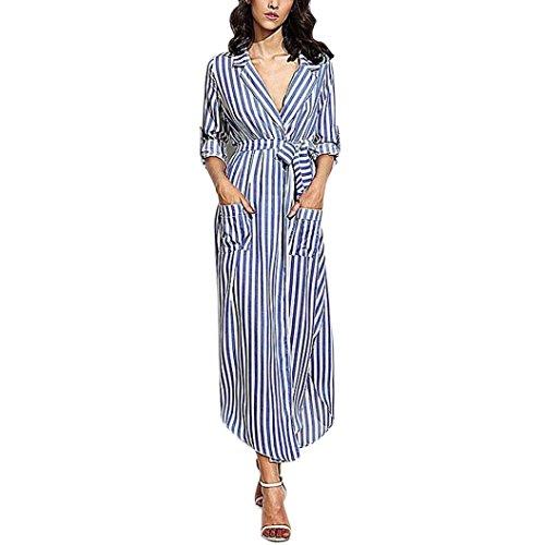 feiXIANG Damen Stripe Kleid V-Ausschnitt lange Ärmel lockers Abendmode Top Bluse lange Maxi Dress Kleid mit Print Damen Sommer Freizeit gestreiftes Kleid für Frauen (M, Blau) (Nylon-print-rock)