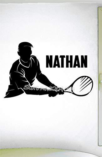 supmsds Tennis Spieler Silhouette Sport Coole Wandaufkleber Tennis Thema Maßgeschneiderte Persönlichen Namen Kunst Decor Vinyl Wandtattoo Mu113X71CM