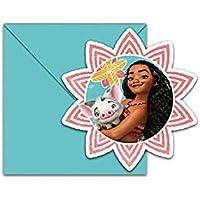 Procos Lot de 6Cartes d'invitation avec enveloppes Vaiana