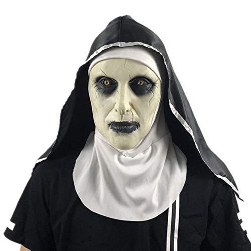 Leezo 2019 Nonne Maske Halloween Scared Female Ghost Headgear Nonne Horror Maske Kostüm Valak Scary Latex Maske mit Kopftuch, Nonne Maske Halloween Scared Female Face, Whole Party - Nicht Scary Kostüm Für Erwachsene