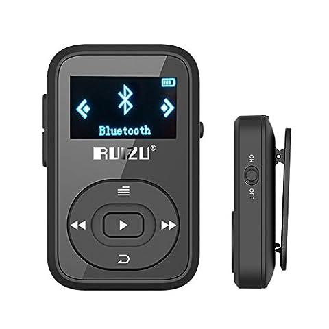 ChenFec mp3 player Bluetooth 8GB X26 Clip MP3 Sport für laufende Unterstützung micr SD Karte mit FM Radio Ordner View mp3 Musik Player schwarz