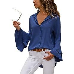 Aleumdr Mujer Blusa Elegante con Botón Camisa Mangas Largas Blusa Casual para Mujer Azul Size M