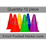 Roxan Vishwa Football Plastic Ground Track and Field Marker Cone , 9 inch , Multicolour -Set of 10