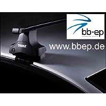 Thule Premium Dachträger / Lastenträger für Seat Léon II / Leon 2 - 3 – 5 Türer Schrägheck ab Baujahr 2005 bis 2012 - Komplettsystem bestehend aus Thule Fußsatz 754, Kit 1398 und Stahltraversen 769 ohne Schloss