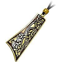 Handcrafted ottone inciso, celtico Hound, collana pendente a goccia Moda, Simboleggia Fedeltà Extreme, Onore, coraggio - Una Collana Simboleggia