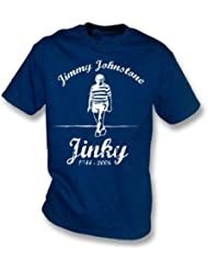 La camiseta de Jimmy Jinky Johnstone, colorea el azul
