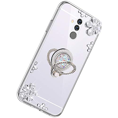 Herbests Kompatibel mit Huawei Mate 20 Lite Glänzend Diamant Kristall Strass Glitzer Spiegel TPU Handyhülle Handytasche Silikon Schutzhülle TPU Bumper Case mit Handy Fingerhalterung,Silber