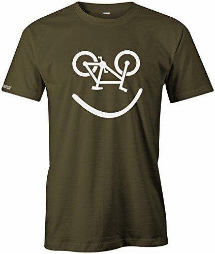 Jayess Bike Lachgesicht Fahrrad Lächeln - Fahrrad Hobby - Herren T-Shirt in Army by Gr. M -