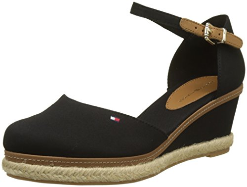 Tommy Hilfiger Damen Iconic Elba Basic Closed Toe Espadrilles, Schwarz (Black 990), 38 EU (Tommy Frauen Keil)