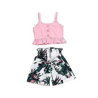 Wang-RX Fashion Kids Baby Girl Clothes Set Summer Cotton Solid Ruffles Vest Flamingo Shorts Bebe Girls Clothing Outfits Pink
