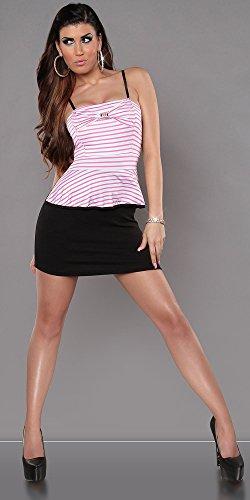 Damen Trägerkleid Bandeau-Minikleid Sommer Kleid im Marine-Look Pink