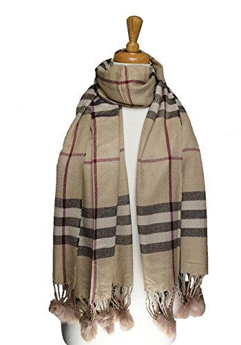 high-quality-large-heavy-style-check-scarf-shawl-with-poms-beige