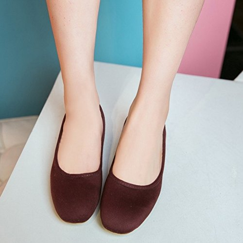 TAOFFEN Damen Basic Closed Round Toe Low Heel Pumps Slip On Schuhe Braun