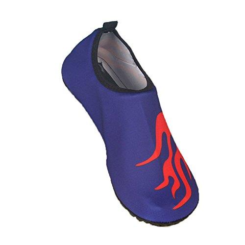 Moolecole Unisexe Extérieur Barefoot Eau Sports Aqua Chaussures Aqua Chaussettes pour Beach Natation Surf Peau Fitness Yoga Chaussures Bleu Royal&Flamme