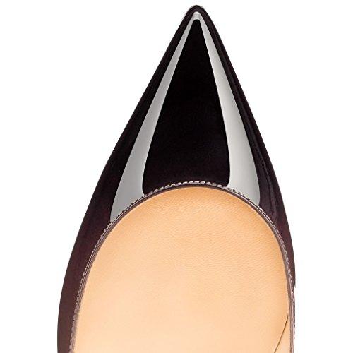 EDEFS Femmes Artisan Fashion Escarpins Classiques Pointus Chaussures à talon haut de 85mm Noir Gradient