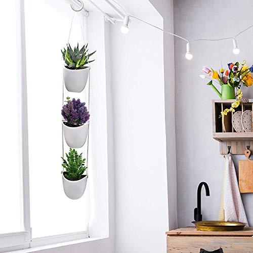 Kurtzy Blumentopf hängend 3-teilig - Wand Blumenampel Innen &Außen Blumentöpfe zum Aufhängen mit Seil zum Aufhängen - Weiß Keramik Wandvase Pflanzengefäße für Sukkulenten, Mini Kaktus, Kunstpflanzen