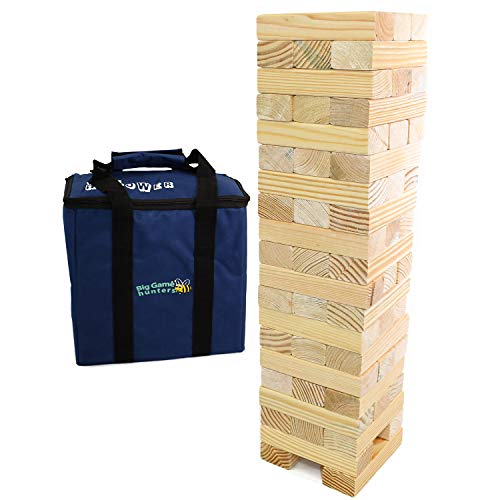 Jumbo Hi-Tower in a Bag, Builds from 0.6 Metres up to 1.5 Metres High in Play, Solid Pine Wood Tumble Tower Game Giant Garden Game