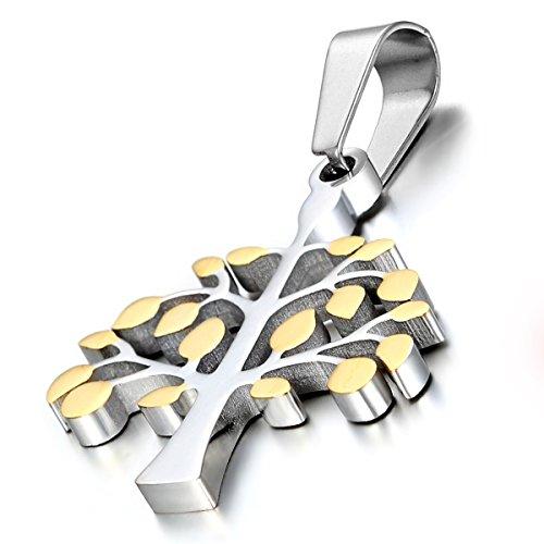Flongo Edelstahl Anhänger Halskette Silber Gold Baum von Leben Charme Damen ,mit 45cm Kette (Baum Des Lebens Charme)