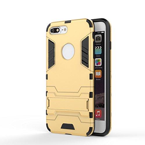 Wkae Case Cover 2 en 1 New Armour style dur hybride double couche Armure Defender PC Disques Etui avec support antichoc Case pour iPhone 7 Plus ( Color : Rose Gold , Size : IPhone 7 Plus ) Gold