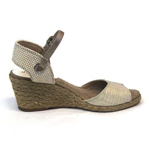 Lucky Brand Zehenöffnung Ankle Strap Sandale UK Größe 3,5 Natural-Platinum
