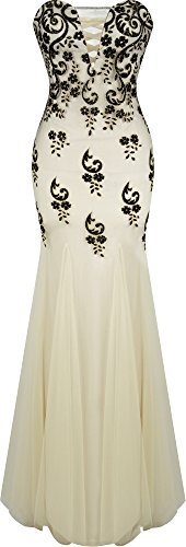 Angel-fashions Mermaid Abito a tubino con scollo a V Floral Sequin Corte dei treni delle donne XXLarge Cream