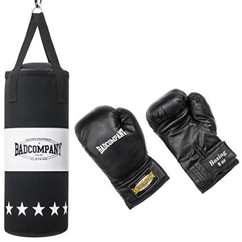 Bad Company Box-Set für Kinder und Jugendliche I Canvas Boxsack, gefüllt - inkl. Aufhängung I 8 OZ Boxhandschuhe I 68 x 25 cm - Schwarz