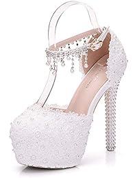 756104654b5df6 Moojm Frauen High Heels Sandalen Weiße Spitze Perlen Hochzeitsschuhe Runde  Zehen Braut Schuhe