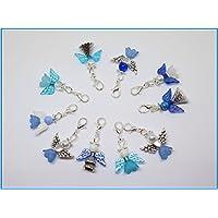 10 Blau gemischte Perlenengel mit Karabinerhaken, handmade, Schutzengel, Anhänger