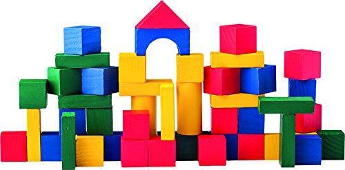 Woodyland Bloques para niños en cubo con tapa clasificadora en forma de A (multicolor)