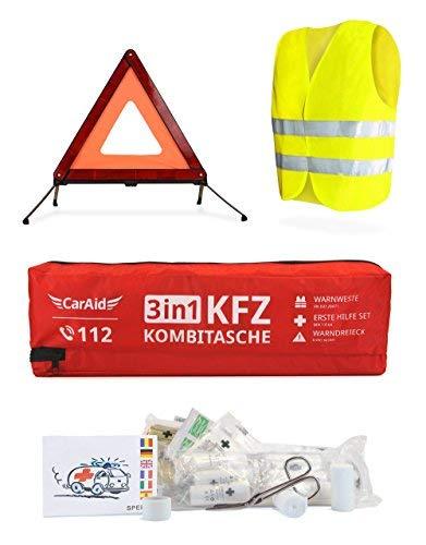 CarAid Premium 3in1 Kombitasche | Warndreieck, Verbandskasten, Warnweste - Deutsche Norm - Erste Hilfe Set für Autos
