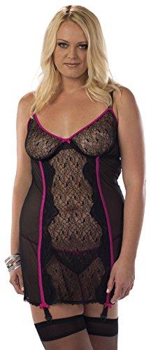 Escante Ravish Damen Bustierkleid mit Schlauch, Übergröße - Schwarz - 3X Plus - Escante Damen Chemise