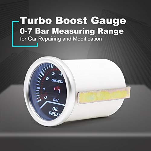 Pudincoco 252mm LED Auto Accessoire Portable Num/érique Turbo Boost Jauge PSI Jauge avec Blue LED Backlight 0~30PSI