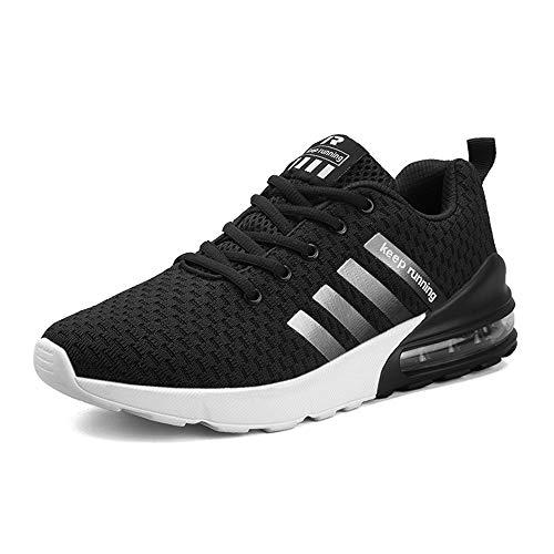 MUOU Uomo Scarpe da Ginnastica Basse Uomo Scarpe da Tennis Uomo Corsa Sportive Running Sneakers Uomo Fitness Casual (46 EU,Nero)